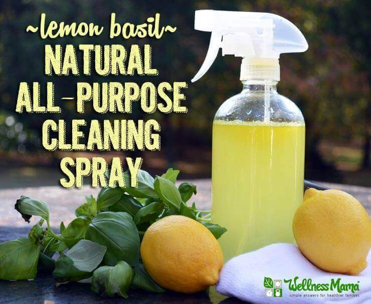 Lemon Basil Natural All-Purpose Cleaning Spray Recipe